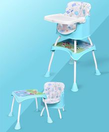 R for Rabbit Cherry Berry Grand The Convertible 4 in 1 High Chair Elephant Print - Light Blue