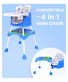 R for Rabbit Cherry Berry Grand The Convertible 4 in 1 High Chair Elephant Print - Blue