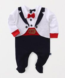 Mini Taurus Full Sleeves Party Romper With Bow - White & Navy Blue