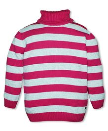 FS Mini Klub Full Sleeves Pullover Sweater Stripe Design - Pink
