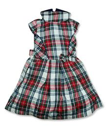 FS Mini Klub Cap Sleeves Frock Checks Print - Red Multicolor