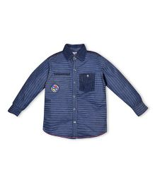 FS Mini Klub Full Sleeves Shirt Stripes Print - Navy Blue
