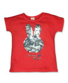 FS Mini Klub Half Sleeves Tee Sequin Bunny Design - Coral