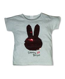 FS Mini Klub Half Sleeves Tee Sequin Bunny Design - Grey