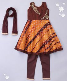 Little Bride Sleeveless Kurti With Churidar & Net Dupatta - Brown