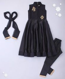 Little Bride Embellished Kurti With Churidar & Dupatta - Black