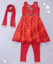 Little Bride Sleeveless Kurti With Embellishment - Orange