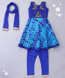 Little Bride Sleeveless Kurti With Churidar & Dupatta - Blue