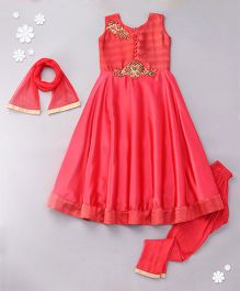 Little Bride Gown Style Kurti Set With Embellishment  - Pink