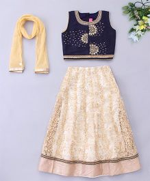 Little Bride Embroidered Lehenga Choli Set - Navy