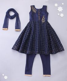 Little Bride Sleeveless Kurti Pajama Set With Embellishments - Navy Blue