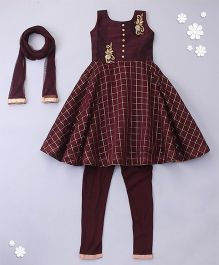 Little Bride Designer Kurti With Churidar & Dupatta - Maroon
