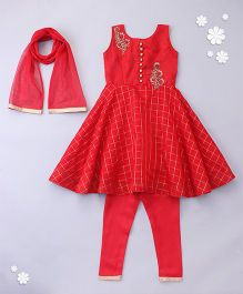 Little Bride Gown Style Kurti Set With Churidar & Dupatta - Red