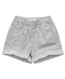 Fox Baby Shorts With Lace Detailing - Grey