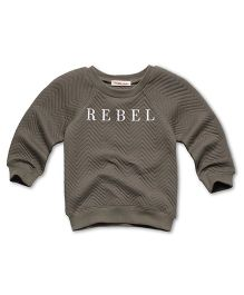 Fox Baby Full Sleeves Sweatshirts Rebel Text Print - Grey