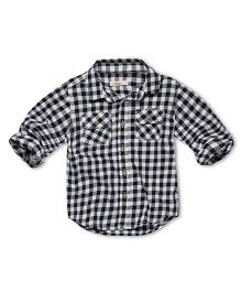 Fox Baby Full Sleeves Shirt With Checks Print - Black White