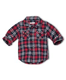Fox Baby Full Sleeves Shirt With Checks Print - Maroon Black