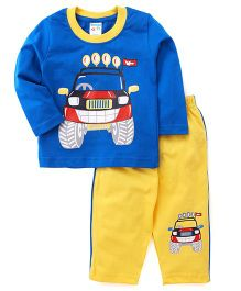 Tango Full Sleeves T-Shirt And Track Pants Car Print - Blue Yellow