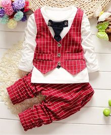 Pre Order - Awabox Mock Tie & Waistcoat Tee With Pants - Red