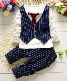 Pre Order - Awabox Mock Tie & Waistcoat Tee With Pants - Navy