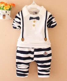 Pre Order - Awabox Striped Tee & Pants With A Bow - Navy Blue & White