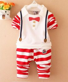 Pre Order - Awabox Striped Tee & Pants With A Bow - Red & White