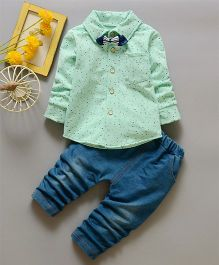 Pre Order - Awabox Printed Shirt With A Bow & Pants - Green & Navy Blue