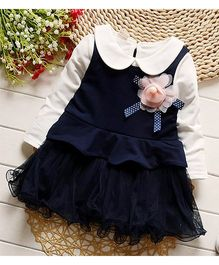 Pre Order - Awabox Tutu Dress With A Flower Applique - Blue & White