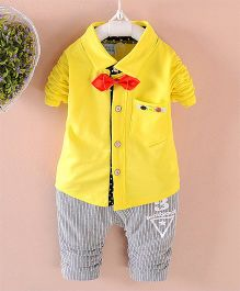 Pre Order - Awabox Shirt With A Bow & Pants - Yellow