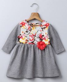 Beebay Full Sleeves Fit-n-Flare Dress - Grey