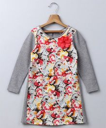 Beebay Full Sleeves A-line Dress Floral Print - Grey