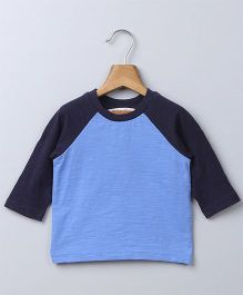 Beebay Raglan Sleeves Dual Color T-Shirt - Navy Blue