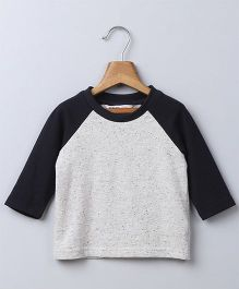 Beebay Raglan Sleeves Dual Color T-Shirt - Grey Black