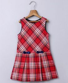 Beebay Sleeveless Checks Dress Bow Applique - Red