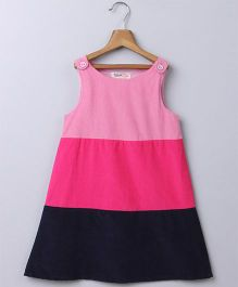Beebay Sleeveless Block Stripe Pinafore Dress - Pink
