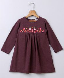 Beebay Full Sleeves Frock Floral Embroidered Yoke - Brown