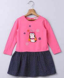 Beebay Full Sleeves Frock Penguin Patch - Pink