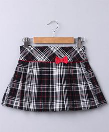 Beebay Checks Skirt With Bow Applique - Black & White
