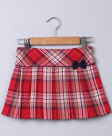 Beebay Checks Skirt With Bow Applique - Red & White