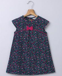 Beebay Cap Sleeves Floral Print Corduroy Dress - Navy