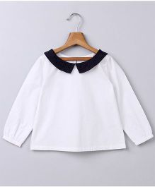 Beebay Full Sleeves Laced Collar Blouse - White