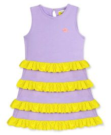 Cherry Crumble California Cotton Jersey Twirly Dress - Purple & Yellow