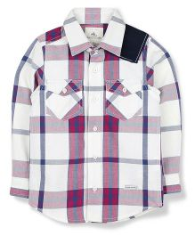 Cherry Crumble California Premium Cotton Checkered Shirt With Patch Pockets - White