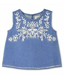 Cherry Crumble California Embroidered Shell Tank Top - Blue