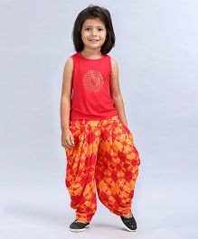 Soul Fairy Tee With Tassles & Fusion Printed Dhoti - Orange
