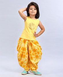 Soul Fairy Tee With Tassles & Fusion Printed Dhoti - Yellow