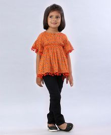 Soul Fairy Floral Printed Ruffled Sleeve Top With Pom Pom Lace - Orange
