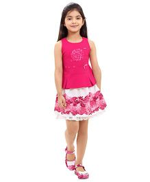 Tiny Baby Elegant Floral Print Skirt And Top Set - Pink