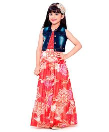Tiny Baby Sleeveless Party Wear Elegant Gown With Denim Shrug  - Red Blue