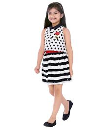 Tiny Baby Sleeveless Smart Dress With Stripes And Polka Design - Black White